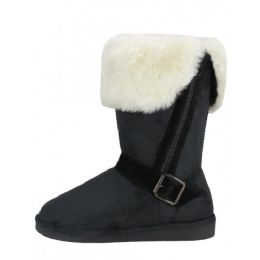 24 Units of Women's Winter Boots With Faux Fur Lining and Side Zippe In Black - Women's Boots