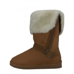 24 Units of Women's Winter Boots With Faux Fur Lining and Side Zippe In Beige - Women's Boots