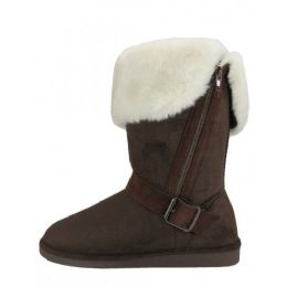 24 Units of Women's Winter Boots With Faux Fur Lining and Side Zippe In Brown - Women's Boots