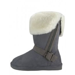 24 Units of Women's Winter Boots With Faux Fur Lining and Side Zippe In Grey - Women's Boots