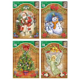 144 Units of Xmas Window Clings - Christmas Decorations
