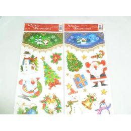144 Units of Xmas Window Cling Glitter - Christmas Decorations