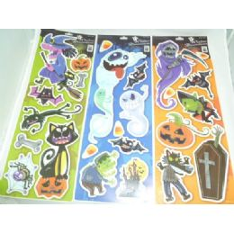 144 Units of Halloween Window Cling (g.i.d.) - Zombie - Halloween & Thanksgiving