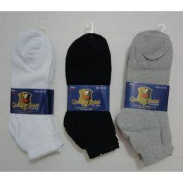 144 Units of 3pr Anklets 9-11 (solid Color)blk/gry/white - Men's Socks
