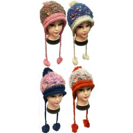 24 Units of MultI-Colored Threading Hats With Pom Pom Balls - Fashion Winter Hats