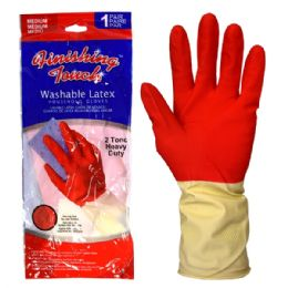 72 Units of Latex Glove HD 2 Tone Medium - Working Gloves