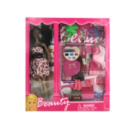 6 Units of Black Fashion Doll With Dress And Accessories - Dolls