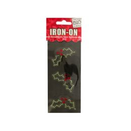 144 Units of Holly Rhinestone Iron-On Transfer - Craft Kits