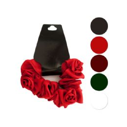 144 Units of Mini Twisted Ruffle Rose Accent Hair Scrunchi - Hair Accessories
