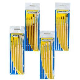 96 Units of Artist Paint Brush Set 4asst 5-6pc Wood Handle - Paint and Supplies