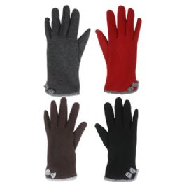 36 Units of Ladies Winter Gloves With Bow - Knitted Stretch Gloves