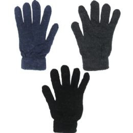 144 Units of Winter Gloves Assorted Colors - Knitted Stretch Gloves