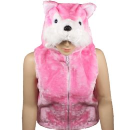 12 Units of Kids Cute Pink Animal Fox Jacket With Animal Hat - Kids Vest