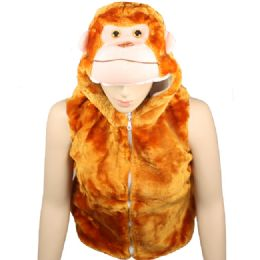12 Units of Kids Animal Monkey Jacket With Hat - Kids Vest