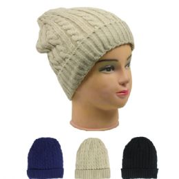 72 Units of Ladies Fashion Beanie Assorted Colors - Headbands