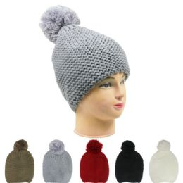72 Units of Woman Winter Hat With Pom Pom In Assorted Color - Fashion Winter Hats