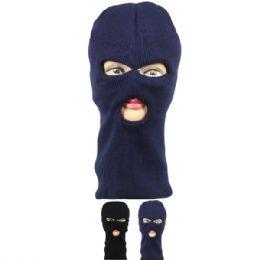 72 Units of Winter Ski Mask 3 Hole Assorted Color - Unisex Ski Masks