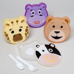 72 Units of Lunch Box Set Animal Face Shape W/cutlery 4asst Shrink/label - Cooler & Lunch Bags