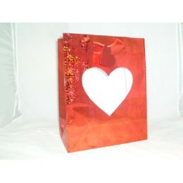 144 Units of Heart Gift Bag window - XL - Valentines