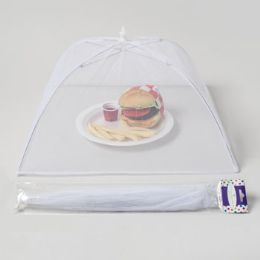 72 Units of 17in Mesh Food Cover UmbrellA- Rectangle, White Summer Polybag/hdr - Umbrellas & Rain Gear
