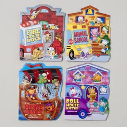 96 Units of Board Books Fan Tab U Lus 4 Asstd Kitties,dogs,pirate Animal School Bus In Pdq - Educational Toys