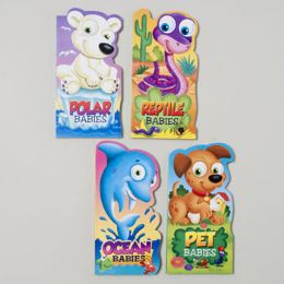 96 Units of Board Books Mini Baby Animals 4 Asst Ocean,reptile,pet And Polar In Pdq - Educational Toys