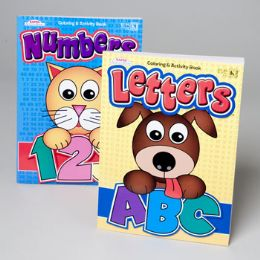 24 Units of Coloring Book Letters & Numbers 4asst In 24pc Cntr Display 96 Pg - Coloring & Activity Books