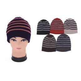 72 Units of Mens Knit Stripped Hat - Winter Beanie Hats