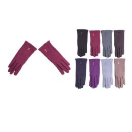 36 Units of Women's Fashion Fur Lined Cotton Glove - Knitted Stretch Gloves