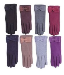 36 Units of Women's Fashion Fur Lined Cotton Glove, 36 Pairs - Knitted Stretch Gloves