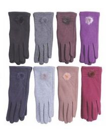 36 Units of Women's Fashion Fur Lined Cotton Glove 36 Pairs - Knitted Stretch Gloves