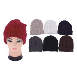 72 Units of Unisex Solid Knit Hats - Winter Beanie Hats