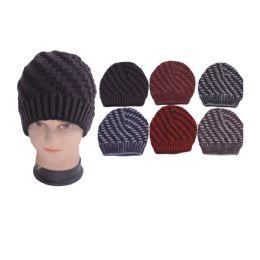 72 Units of Men's 2 Tone Knit Winter Hat - Fashion Winter Hats