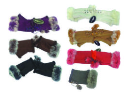 120 Units of Women's Faux Fur Finger less Glove 120 Pairs - Knitted Stretch Gloves