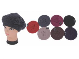 60 Units of LADIES BERET HAT WITH BOW-TIE - Fashion Winter Hats