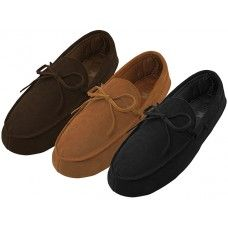 24 Units of Men's Leather Upper Moccasins Insulated Shoes - Men's Slippers