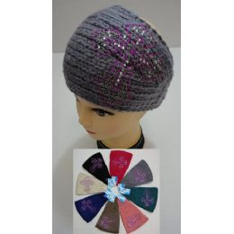 12 Units of Wide Hand Knitted Ear Band [rhinestone Cross] - Ear Warmers