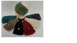 36 Units of Wide HanD-Knitted Ear Band [flower W/ Gem] - Ear Warmers