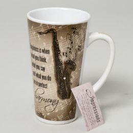 48 Units of Mug Latte 16 Oz Ceramic Impressions Saxophone - Coffee Mugs