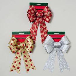 96 Units of Bow Glitter Christmas Print 6x10 3asst - Christmas Decorations
