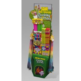 136 Units of Candy Sour Face Twister Stocking Stuffer Center 136pc Floor Disp Big Stick,sour Powder,magic W - Christmas Stocking