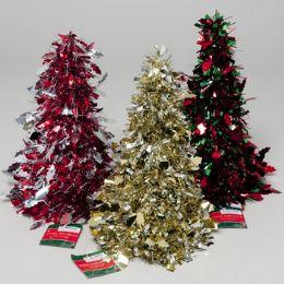 96 Units of Christmas Tree Tinsel Cone Decor Dot Or Loop 5 Colors Gov Xmas Hangtag - Christmas Decorations