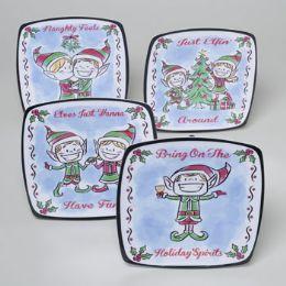 144 Units of Dessert Plate Square Melamine - Christmas Novelties