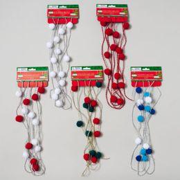 96 Units of Garland Pom Pom W/bead - Christmas Novelties