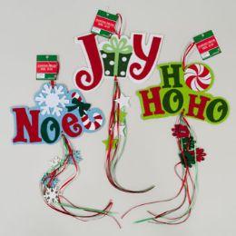 144 Units of Hanging Decor Xmas Felt W/diecut Shape W/streamers - Christmas Decorations