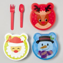108 Units of Lunch Box With 2pc Cutlery Set - Christmas Novelties