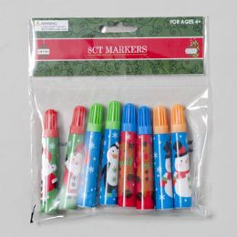 96 Units of Markers 8pk Christmas 3.5inl 4 Colors/4 Characters - Christmas Novelties