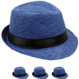 24 Units of Children Blue Fedora Hat With Black Band - Fedoras, Driver Caps & Visor