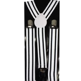 48 Units of Adult Black And White Striped Suspender - Suspenders