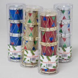 144 Units of Ornament Drum 4pk 4asst Color Glitter Design - Christmas Ornament
